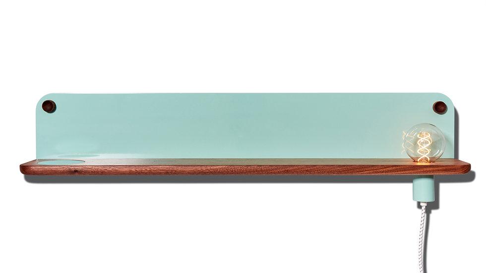 Bedside table, wall shelf, entryway shelf, catch-all, LED light, minimal, minimalist, seafoam