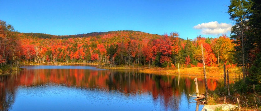 A panoramic picture of a lake and Vermont autumn foliage