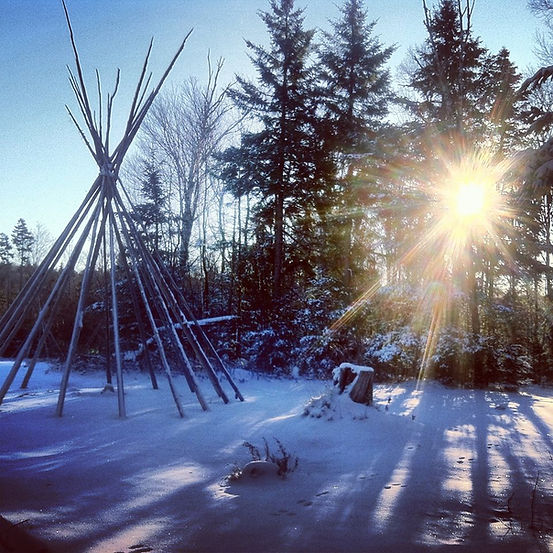 A tipi site in the snow during a Vermont winter