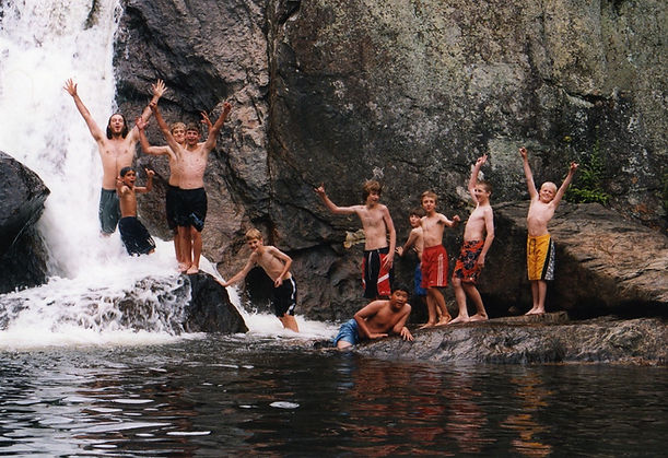 Staff and campers swimming at Buttermilk Falls Vermont