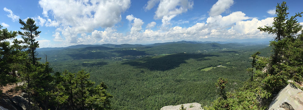 A panoramic view taken from the top of White Rocks in Wallingford Vermont