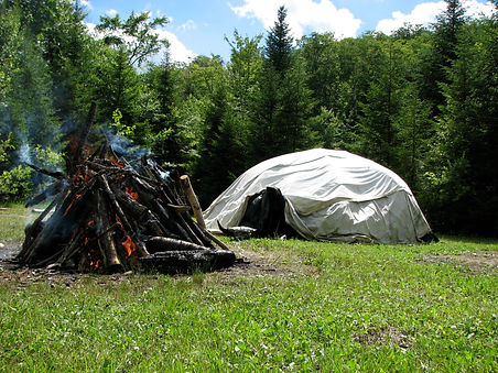 A traditional Sioux sweat lodge and fire
