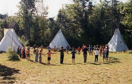 Night Eagle campers circling up for the morning