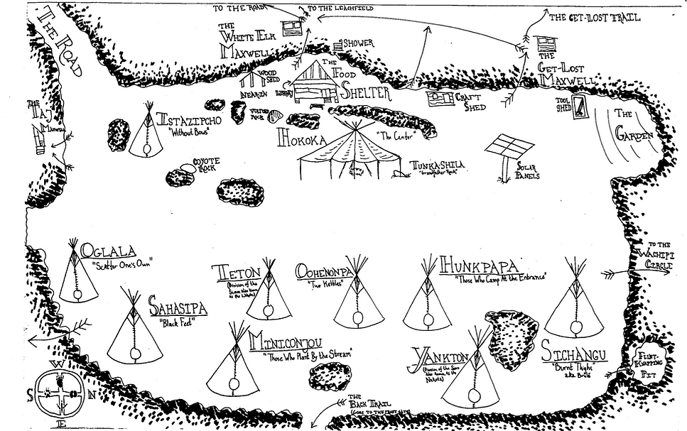 A hand drawn map of the Night Eagle camp clearing