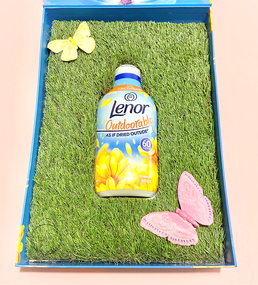 a bottle of Lenor Outdoorables fabric conditioner on a back ground of grass and butterflies to be reviewed by beautifullyoroginal.com