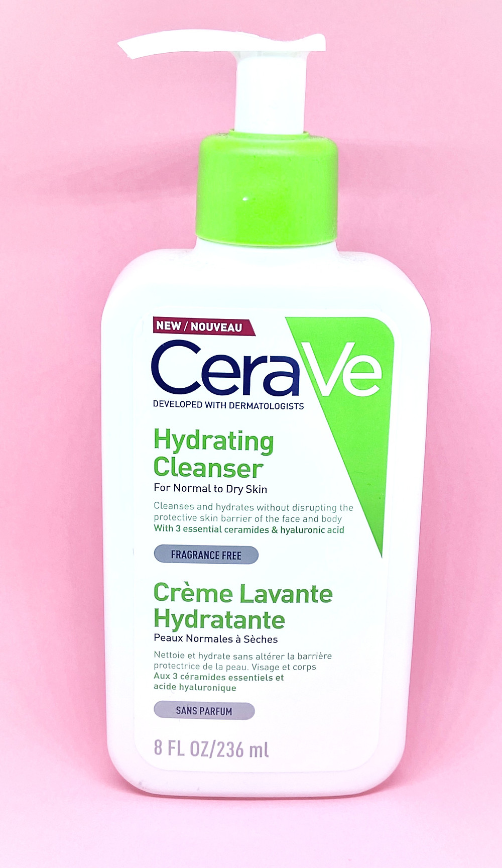 CerVe cleanser bottle on a pink background - BeautifullyOriginal.com
