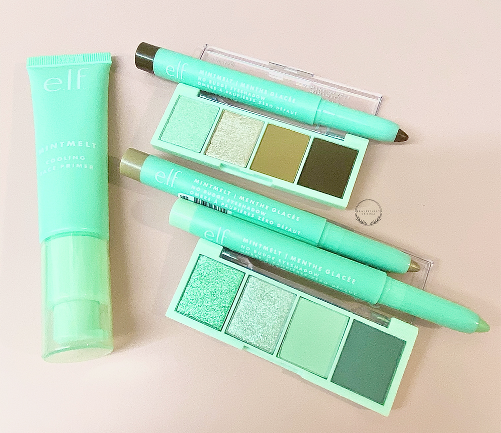 the latest collection of Elf cosmetics mint beauty and skincare products, eyeshadow pallets, Primer, eyeshadow sticks on a pink background for review by beautifullyoriginal.com