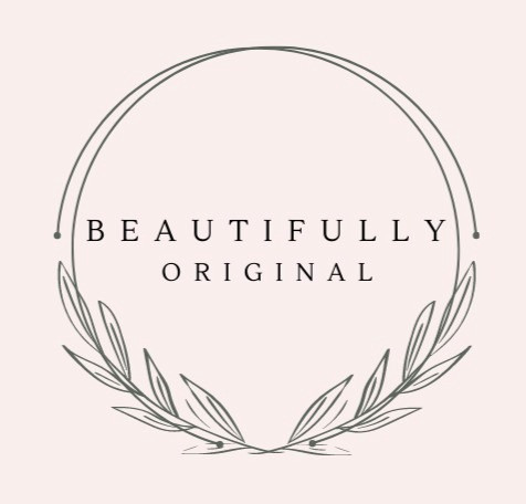 The logo for beautifully original in black writing on a pink background.