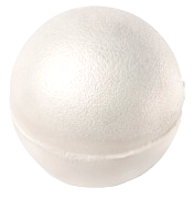 a white circular bath bomb covered in silver shimmer