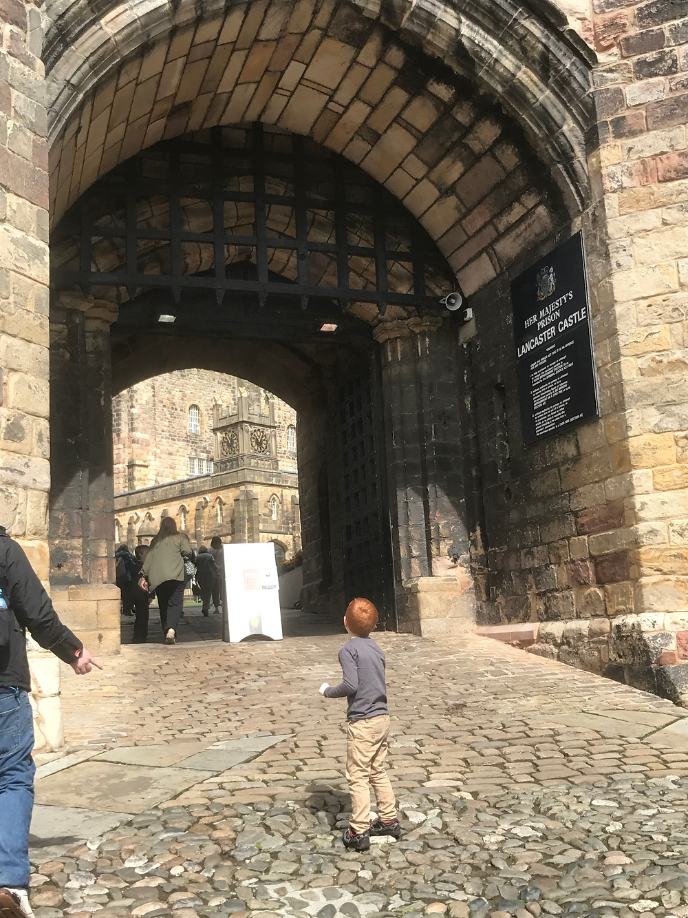 Our beautiful visit to Lancaster castle walking up the steep cobbled path to the gates.