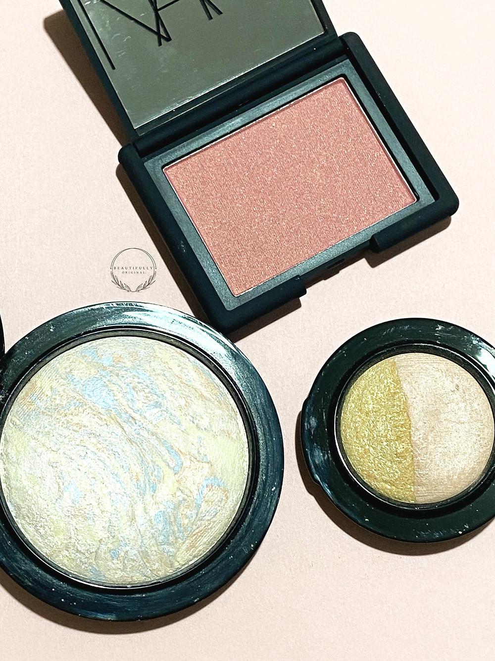 NARS Blush, MAC's lightscapade skin finish and eyeshadow on a pink background - beautifullyoriginal.com