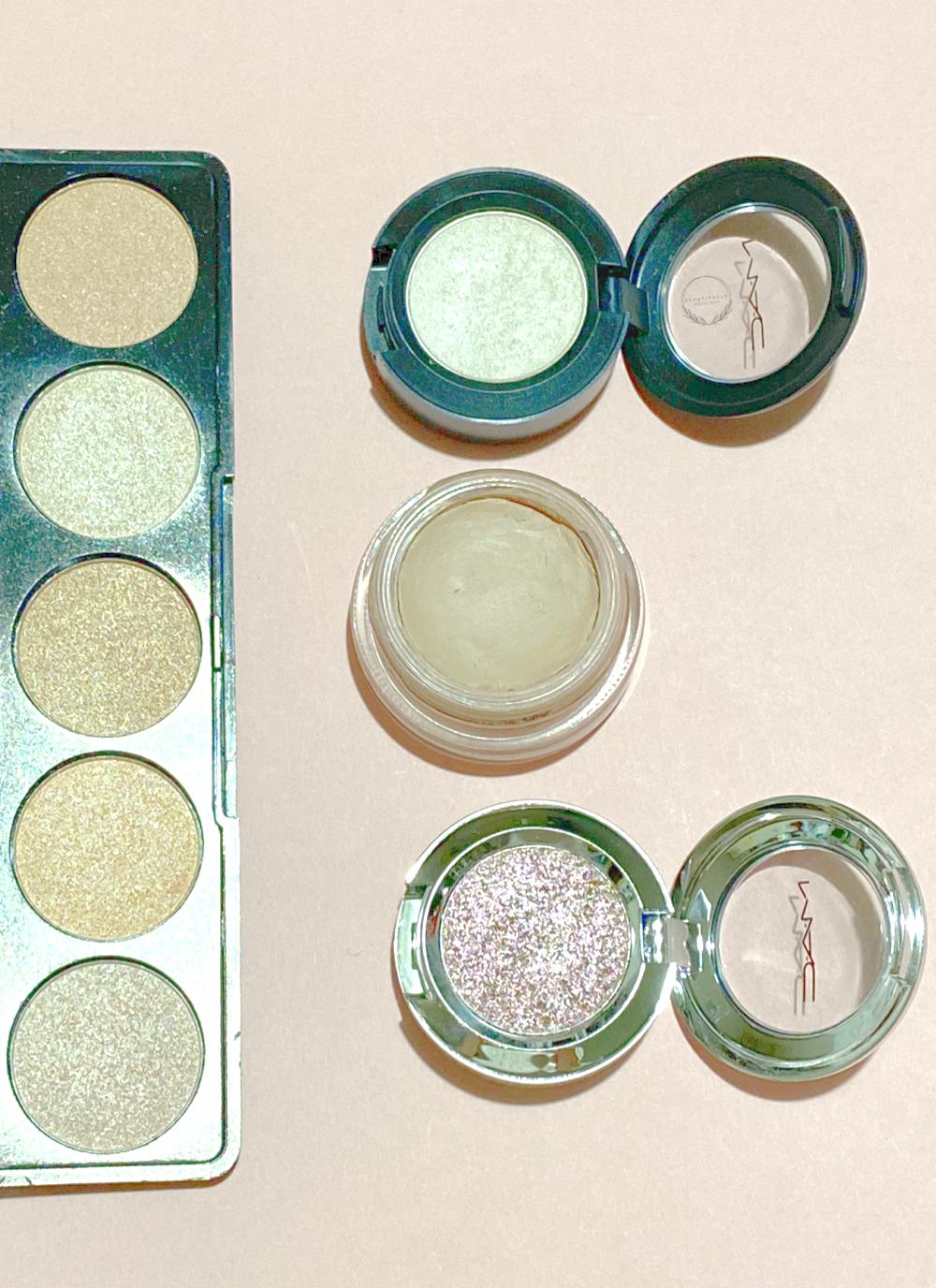 a selection of light spring colour eyeshadows on a peach back ground  beautifullyoriginal.com