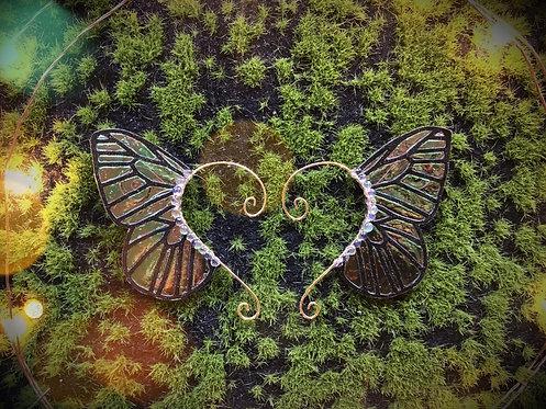 Small Butterfly Green Blk Glitter Earpiece Set