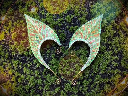 Large Elven Leaf Green Glitter Earpiece Set