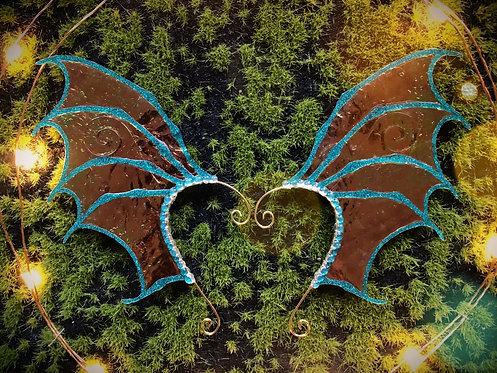Dragon Wing Teal Glitter Earpiece Set
