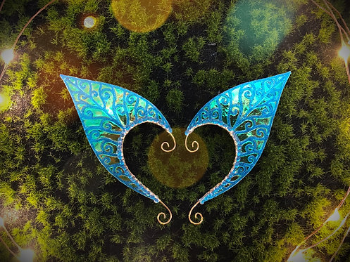 Medum Elven Leaf Blue Glitter Earpiece Set