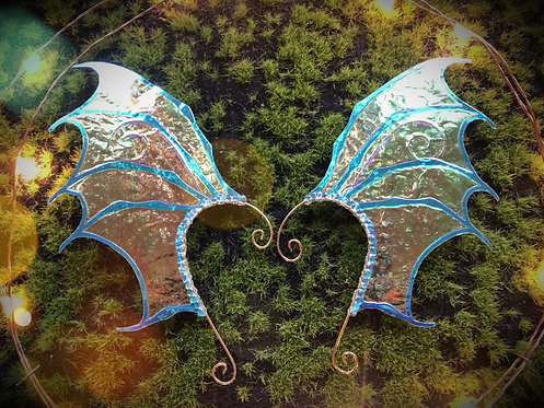 Dragon Wing Blue Holographic Earpiece Set