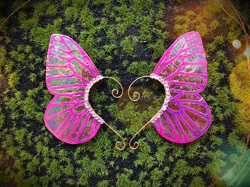 Medium Electric Forest Holographic Butterfly Earpiece Set