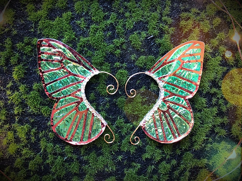 Medium Emerald & Orange Holographic Butterfly Earpiece Set