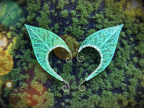 Small Elven Leaf Green Glitter Earpiece Set