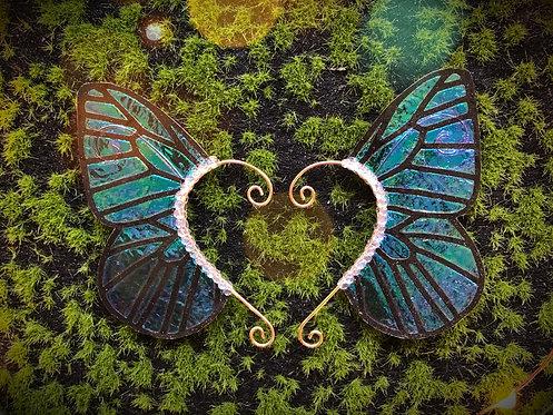 Medium Blue Morpho Butterfly Earpiece Set