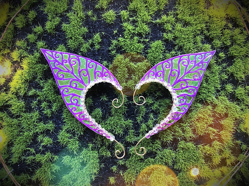 Small Elven Leaf Electric Forest Earpiece Set