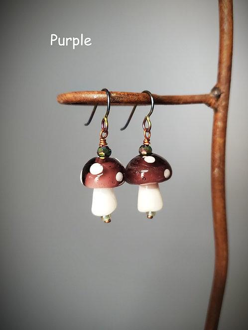 Lampwork Glass Mushroom Earrings