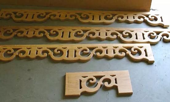 Oak Scrolls for Staircase. Cutting Edge Designs. Northern Ireland