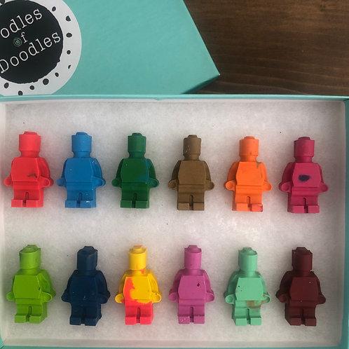 12 lego figure crayons