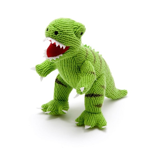 Large Green Knitted T-Rex