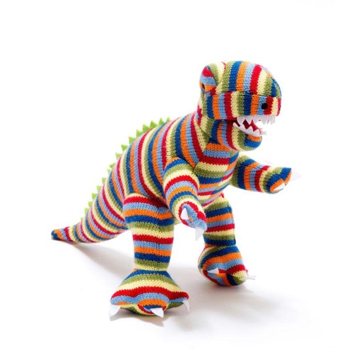 Knitted Striped T-Rex