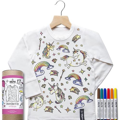 Unicorn Kids Colour In Top