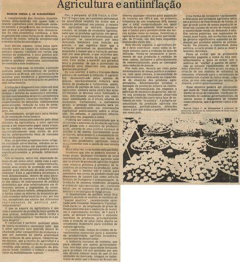 Agricultura e antiinflação