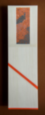 Fused Glass Panel - Vitrigraph Murrine transluscent window, Variegated white and orange