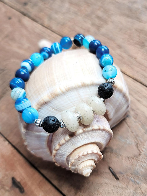 Clearwater Beach Sand Bracelet with Blue Agate Gemstone Beads