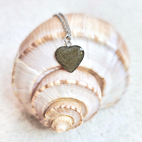 Isle of Palms Beach Sand Heart Pendant Necklace