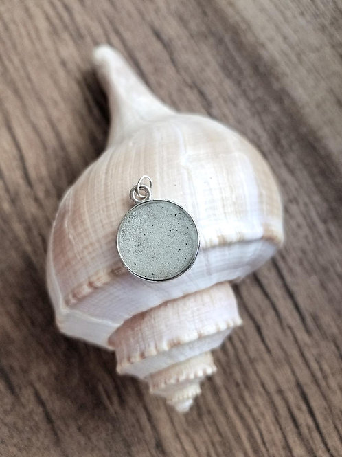 Destin Beach Sand Small Round Pendant Necklace