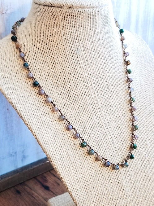 Silk Necklace with Indian Agate Gemstone Beads