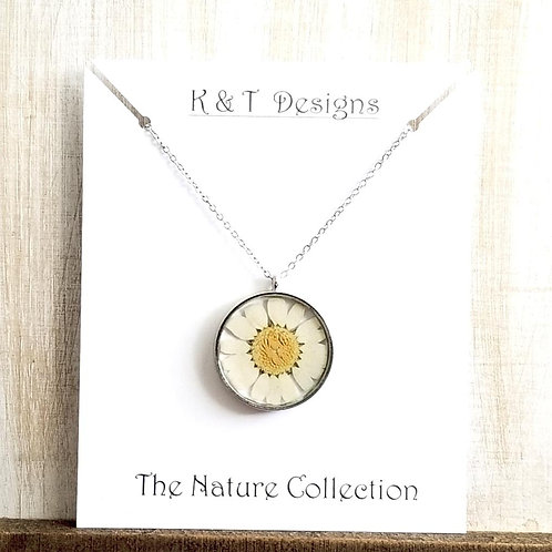 Pressed Daisy Flower Necklace