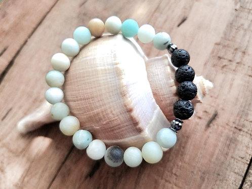 Amazonite and Lava Gemstone Diffuser Bracelet