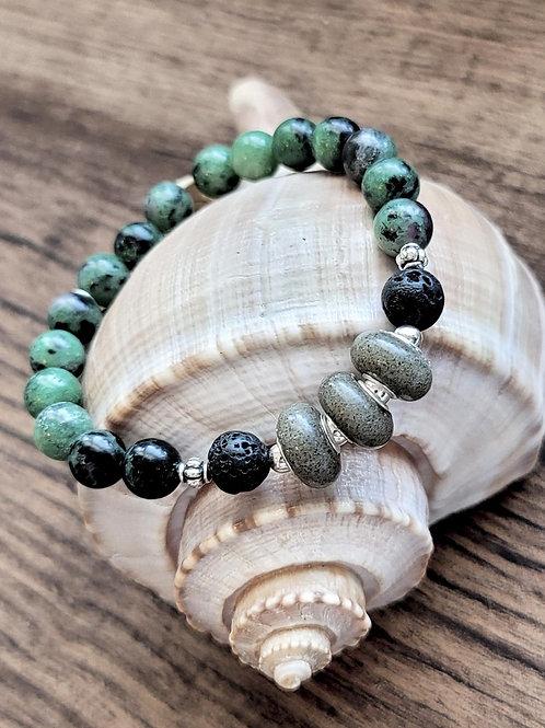 Kiawah Beach Sand Bracelet with Gemstone Beads