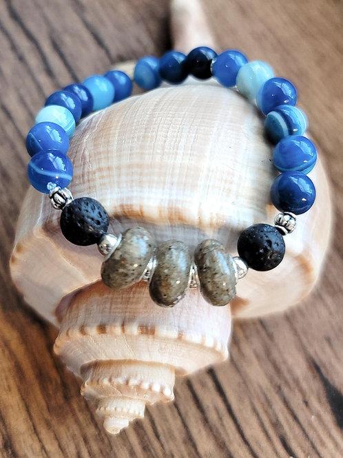 Edisto Beach Sand Bracelet with Aqua Agate Gemstone Beads