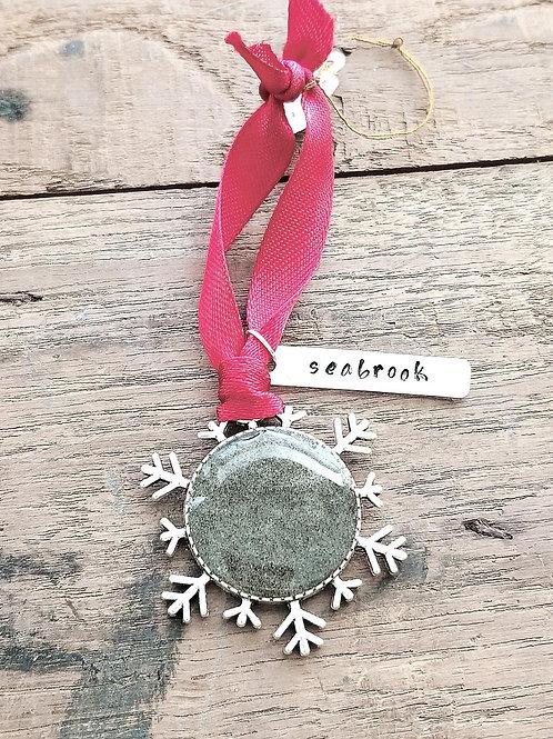 Seabrook Island Beach Sand Snowflake Christmas Holiday Ornament