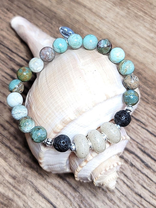 Destin Beach Sand Bracelet with Jade Gemstone Beads