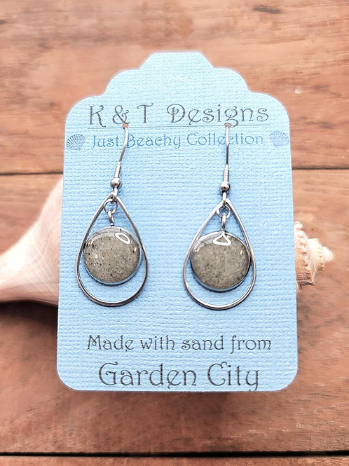 Garden City Beach  Sand Teardrop Earrings
