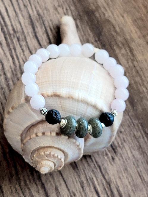 Seabrook Island Beach Sand Bracelet with Rose Quartz Gemstone Beads