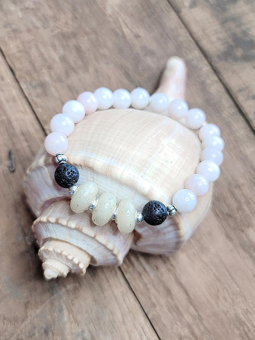 Anna Maria Island Beach Sand Bracelet with Rose Quartz Gemstone Beads
