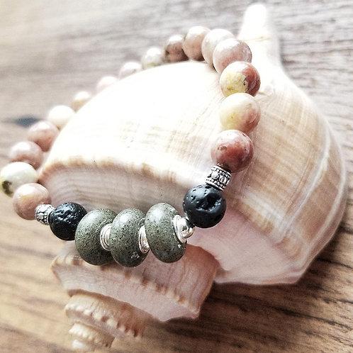 Seabrook Island Beach Sand Bracelet with Jasper Gemstones