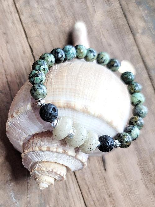 Anna Maria Island Beach Sand Bracelet with African Turquoise Gemstone Beads