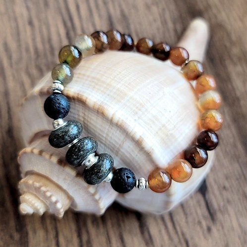 Folly Beach Sand Bracelet with Multicolored Agate Gemstone Beads